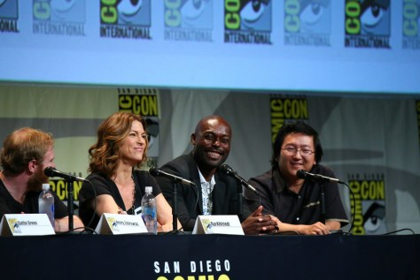 """COMIC-CON INTERNATIONAL: SAN DIEGO 2015 -- """"Heroes Reborn"""" Panel & Red Carpet -- Pictured: (l-r) Henry Zebrowski, Rya Kihlstedt, Jimmy Jean-Louis, Masi Oka, Sunday, July 12, 2015, from the San Diego Convention Center, San Diego, Calif. -- (Photo by: Mark Davis/NBC)"""