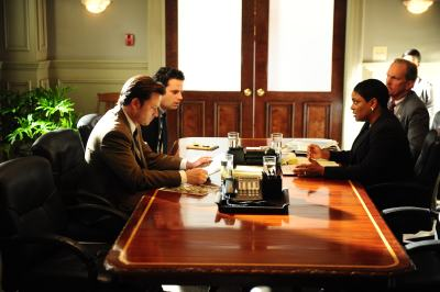 "L to R, Aden Young, Luke Kirby, Sharon Morris and Michael O'Neill - in the SundanceTV original series ""Rectify"" - Photo Credit: Curtis Bonds Baker"