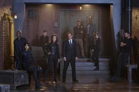 "MARVEL'S AGENTS OF S.H.I.E.L.D. - ABC's ""Marvel's Agents of S.H.I.E.L.D."" stars B.J. Britt as Antoine Triplett, Chloe Bennet as Skye, Iain De Caestecker as Agent Leo Fitz, Ming-Na Wen as Agent Melinda May, Clark Gregg as Agent Phil Coulson, Nick Blood as Lance Hunter, Henry Simmons as Alphonso 'Mac' Mackenzie, Elizabeth Henstridge as Agent Jemma Simmons and Brett Dalton as Grant Ward. (ABC/Florian Schneider)"