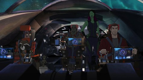 """MARVEL'S GUARDIANS OF THE GALAXY - """"Road to Knowhere"""" - The newly christened Guardians of the Galaxy come into possession of a dangerous artifact that has Thanos' new second-in-charge, Korath, after them. ÒMarvel's Guardians of the GalaxyÓ premieres Saturday, September 26 (9:30 PM - 10:30 PM ET/PT) on Marvel Universe on Disney XD. (Disney XD) ROCKET RACCOON, GROOT, DRAX THE DESTROYER, GAMORA, PETER QUILL"""