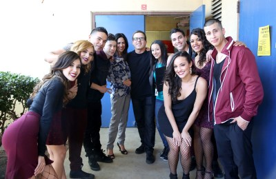 Ashley Campuzano, Olivia Gonzalez, Gilbert Saldivar, Byron Martinez, Catherine Lazo, director Carlos Portugal, Danielle Vega, Alexandra Rodriguez, Oskar Rodriguez, Vivian Lamolli, and Carlito Olivero on the set of East Los High 3 on Friday, March 6, 2015.  (Photo by Todd Williamson/Hulu) Scene 6.15 BTS