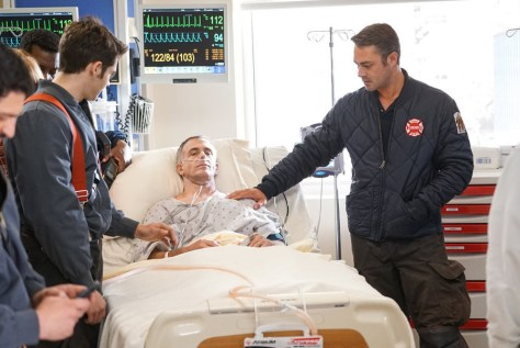 """CHICAGO FIRE -- """"The Beating Heart"""" Episode 410 -- Pictured: (l-r) David Eigenberg as Christopher Herrmann, Taylor Kinney as Kelly Severide -- (Photo by: Elizabeth Morris/NBC)"""