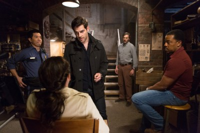 "GRIMM -- ""The Grimm Identity"" Episode 501 -- Pictured: (l-r) Reggie Lee as Sgt. Wu, David Giuntoli as Nick Burkhardt, Silas Weir Mitchell as Monroe, Russell Hornsby as Hank Griffin -- (Photo by: Scott Green/NBC)"