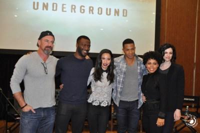 The cast of Underground (l to r - Christopher Meloni, Aldis Hodge, Jurnee Smollett-Bell, Alano Miller, Amirah Vann & Jessica de Gouw)