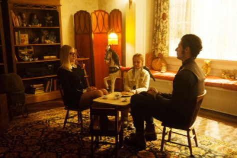 "THE MAGICIANS -- ""The Writing Room"" Episode 109 -- Pictured: (l-r) Olivia Taylor Dudley as Alice, Sibyl Gregory as Beatrix, Hale Appleman as Eliot -- (Photo by: Carole Segal/Syfy)"