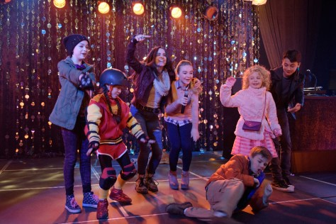"""ADVENTURES IN BABYSITTING - The 100th Disney Channel Original Movie, """"Adventures in Babysitting,"""" starring popular actresses and recording artists Sabrina Carpenter (""""Girl Meets World"""") and Sofia Carson (""""Descendants""""), premieres FRIDAY, JUNE 24 (8:00 p.m. EDT) on Disney Channel. (Disney Channel/Ed Araquel) NIKKI HAHN, MADISON HORCHER, SOFIA CARSON, SABRINA CARPENTER, JET JURGENSMEYER, MALLORY JAMES MAHONEY, MAX GECOWETS"""