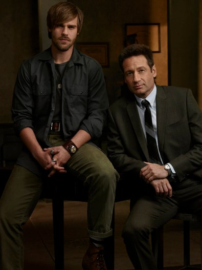 AQUARIUS -- Season: 1 -- Pictured: (l-r) Grey Damon as Shafe, David Duchovny as Hodiak -- (Photo by: Jim Fiscus/NBC)
