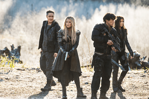 Pictured (L-R): Alessandro Juliani as Sinclair, Eliza Taylor as Clarke, Bob Morley as Bellamy, and Marie Avgeropoulos as Octavia -- Credit: Diyah Pera/The CW -- © 2016 The CW Network, LLC.