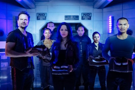 """DARK MATTER -- """"Welcome To Your New Home"""" Episode 201 -- Pictured: (l-r) Anthony Lemke as Three, Melanie Liburd as Nyx, Melissa O'Neil as Two, Alex Mallari Jr. as Four -- (Photo by: Jan Thijs/Prodigy Pictures/Syfy)"""