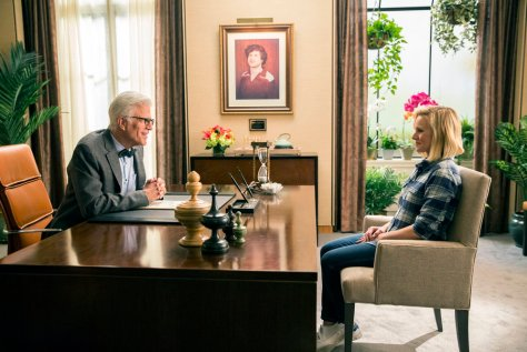 "THE GOOD PLACE --  ""Everything Is Fine"" Episode 101--  Pictured: (l-r) Ted Danson as Michael, Kristen Bell as Eleanor -- (Photo by: Justin Lubin/NBC)"