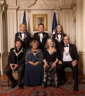 Pictured left to right: (Standing) Rock band the Eagles, Joe Walsh, Don Henley and Timothy Schmit (Seated) screen and stage actor Al Pacino, gospel and blues singer Mavis Staples, Argentine pianist Martha Argerich, and musician James Taylor are recognized for their achievements in the arts during a star-studded celebration on the Kennedy Center Opera House stage. THE 39TH ANNUAL KENNEDY CENTER HONORS, to be broadcast Tuesday, Dec. 27 (9:00-11:00 PM, ET/PT), on the CBS Television Network. Photo: John P. Filo/CBS ©2016 CBS Broadcasting, Inc. All Rights Reserved