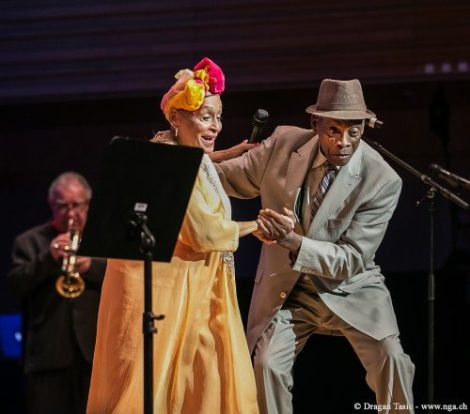 (l to r) Omara Portuondo (vocals) and Papi Oviedo (Tres player) perform in the documentary BUENA VISTA SOCIAL CLUB: ADIOS, a Broad Green Pictures release. Credit: Dragan Tasic / Broad Green Pictures