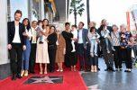 HOLLYWOOD, CA - MAY 03: Honoree Zoe Saldana (5th from L) and family at the Zoe Saldana Walk Of Fame Star Ceremony on May 3, 2018 in Hollywood, California. (Photo by Alberto E. Rodriguez/Getty Images for Disney) *** Local Caption *** Zoe Saldana
