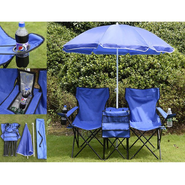 Portable Folding Picnic Double Chair Withumbrella Table Cooler Beach Camping