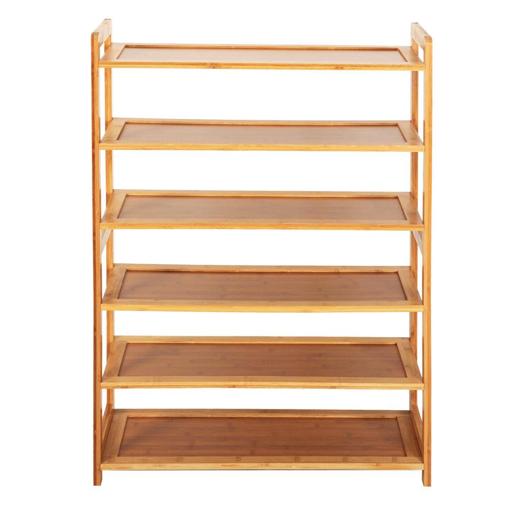 High Quality 6 Tier Wood Bamboo Shelf Entryway Storage