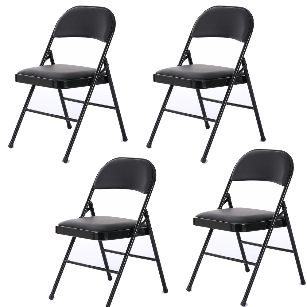 Soft Folding Chairs Details About 4 Fabric Folding Chair Black Soft Padded Seat Compact Steel Back Strong Dinning