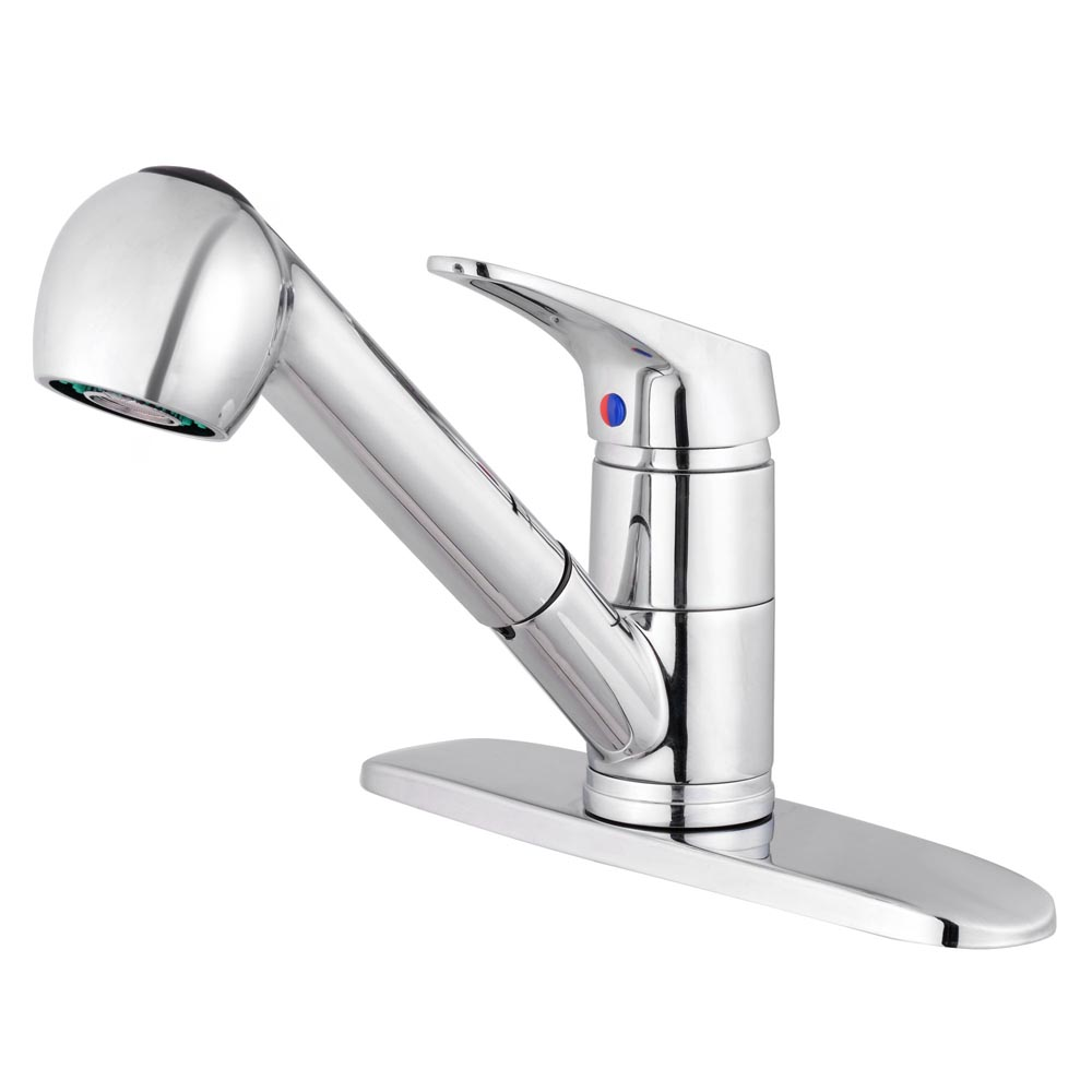 kitchen faucet spout industrial table pull out spray swivel sink single handle polished chrome