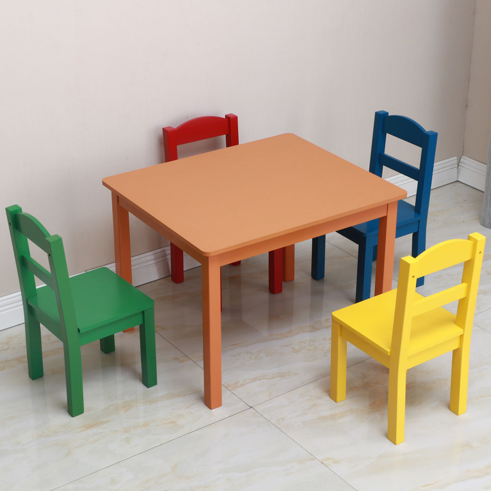 Kids Wood Table And Chairs Details About Kids Wood Table And 4 Chairs Set Playing Set Multi Colored Fun Games Durable