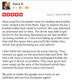 Yelp review from Gena R, 5 stars