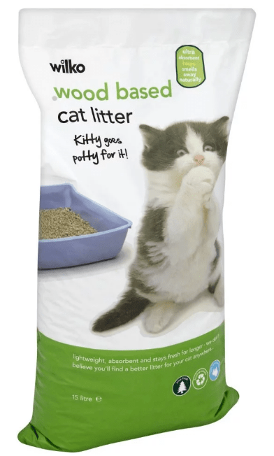 Wood based cat litter used as a cover for compost toilets.