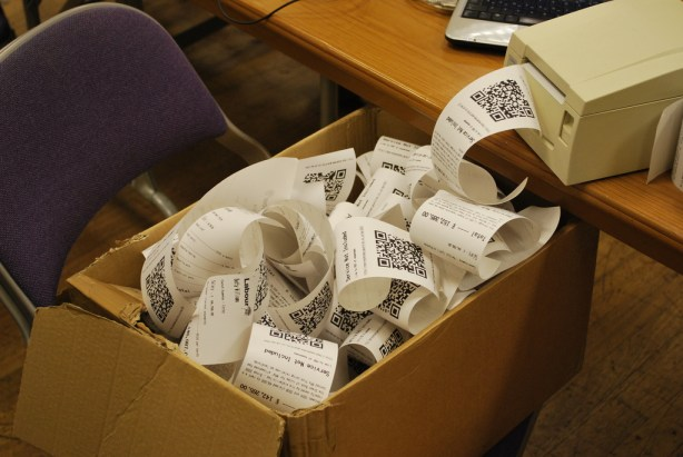 A box of receipts
