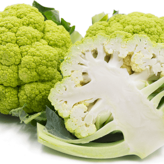 two whole organic broccoflower and one cut