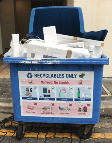 Example of misuse of blue recycling bin