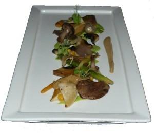 Cogumelos, béchamel de salsa e cebola