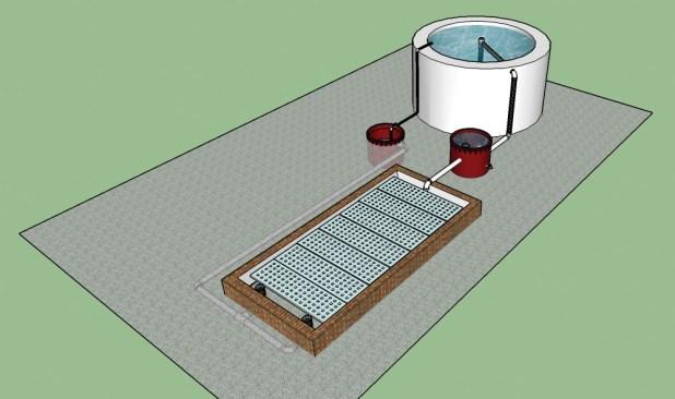 Desenho técnico do sistema de Aquaponia instalado