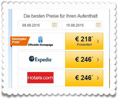 Ein Hotel ist direkt auf Tripadvisor gelistet - und bietet den niedrigsten Preis