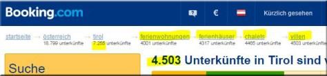 booking.com in Tirol mit Filter Unterkunftstypen