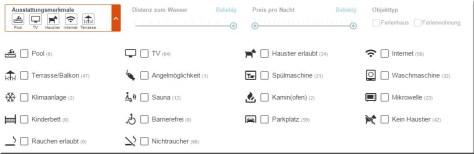 Filter und Kriterien in der Hometogo-Suche