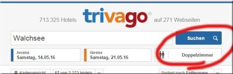 Trivago Suche für Zimmer - nicht FeWos