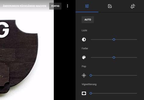 Google Fotos: eingebaute Bildbearbeitung