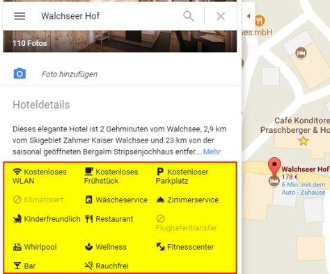 Ausstattungsmerkmale (gelb hinterlegt) am Hoteleintrag in Google Maps