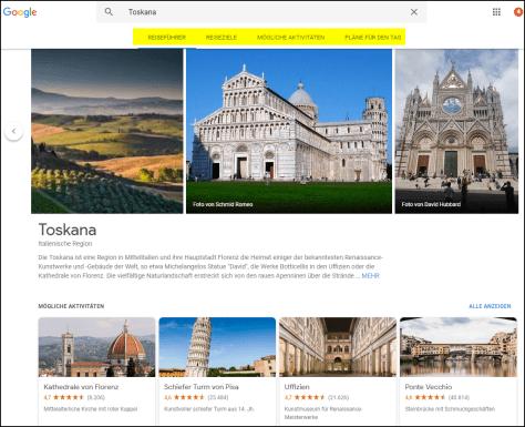 Google Reiseführer mit Reisevorschlägen