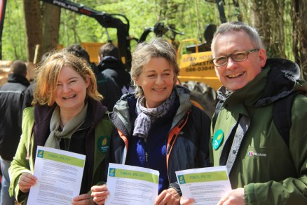 I was so delighted to launch the Irish Greens Forest Policy policy with two of my oldest friends, Jan Alexander – Crann founder and former Chair of ProSilva Ireland (key European NGO on continuous cover, non clearfell forest management); and Alan Price, Chair of Carlow Kilkenny Greens. Thanks to David Wilkinson, Director of the Irish Forestry Woodland & Bio Energy Show for being so enthusiastic that we launch the policy at the Stradbally Forest show. Photograph: Eileen MacDonagh