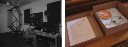 """Judy Spark: """"Aerial Coil"""" (B/W print Courtesy of BT Archives) and """"Of Origins Unknown; the Galena Radio"""" from Tuning to the Ether, Cupar Festival of Visual Art, 2009"""