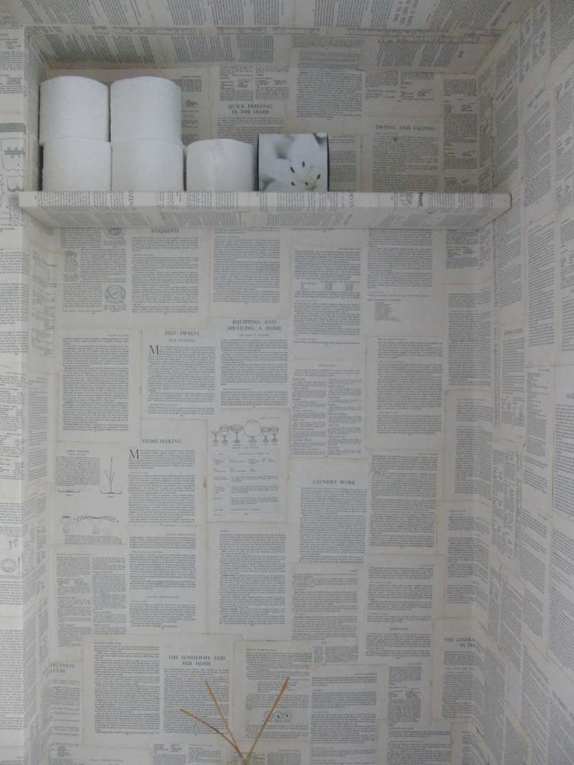 We papered everything including the shelf to store the loo paper. It was a good use of dead space.
