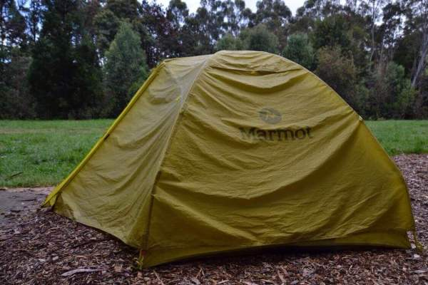 Our tent pitched along the Great Ocean Road