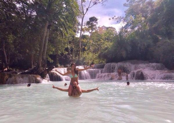 Playing around at the Kuang Si Waterfalls