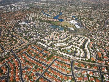 aerial view of residential block