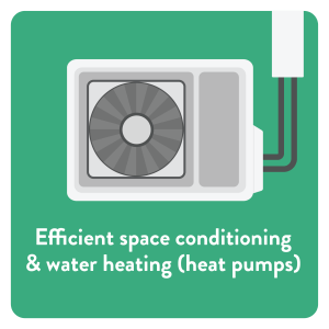Efficient space conditioning & Water heating (heat pumps)