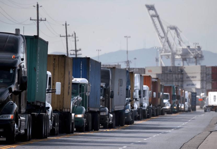 Trucks leaving busy port