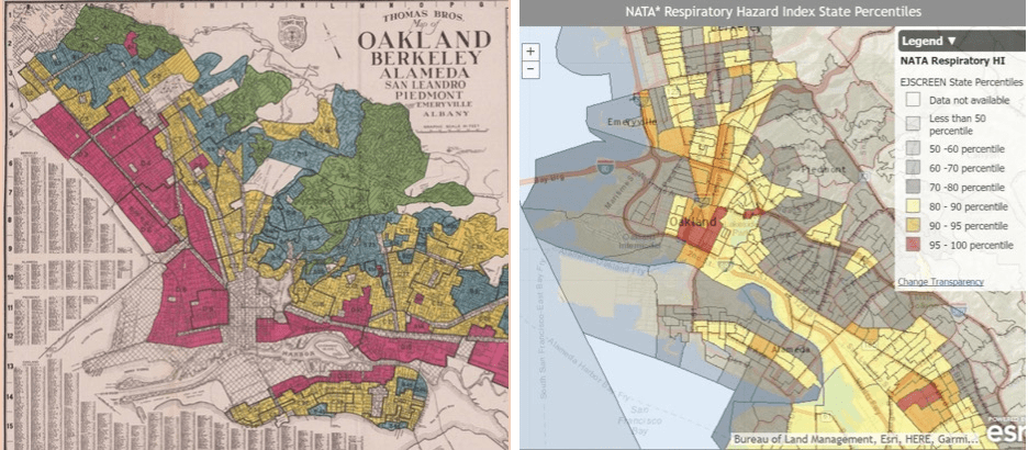 (Left image) Map of Redlining in Oakland area. (Right image) Map showing concentration of harmful substances with peak in Oakland.