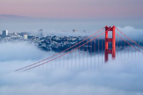 Karl the Fog drifting through the Golden Gate Bridge