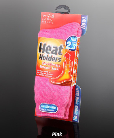 Heat holders are made from a specially developed heavy bulk yarn which has extreme thermal qualities.