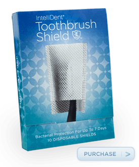 Keep germs off your toothbrush:  IntelliDent Toothbrush Shield