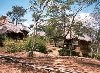Parts of the village on slopes on the river bank
