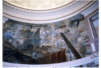 One of 4 paintings lining the top portion of the Rotunda depicting the construction of the Panama Canal. This one represents the construction of the locks.